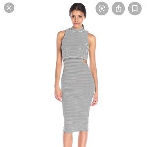 MINKPINK Striped Cutout Midi Dress